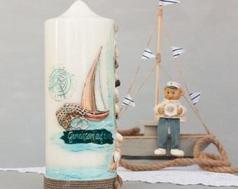 Wedding candle, candle for beach wedding, candle wedding seashells and sand, maritime candle, handmade unique, wax decor E528