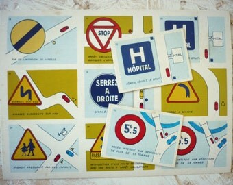 Lotto code road - thumbnails road vintage - french highway code - scrapbooking