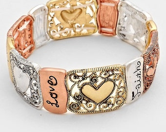 "Faith, Hope, Love "" Stretch Bracelet"