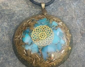 Orgonite chalcedony pendant