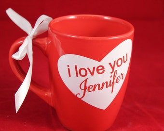 I love you Coffee Mug Red and White heart with Name Personalized