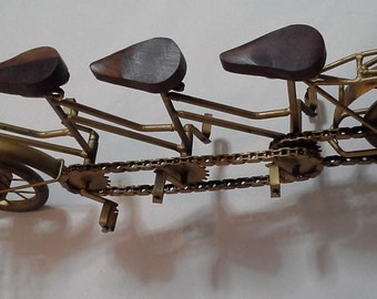 Vintage - Three Seat Tandem Bicycle Statue Sculpture