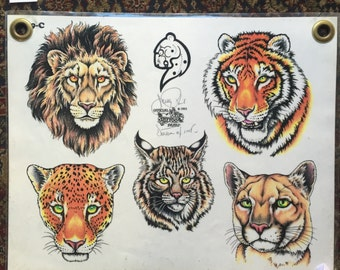 Vintage shop used TATTOO FLASH 80s 90s SIGNED tiger lion cheetah original authentic