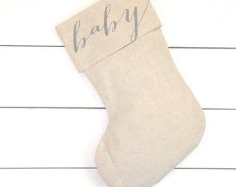 Name Stocking, Baby Christmas Stocking, Personalized Christmas Stocking, Linen Stocking, Baby Gift, Nursery Decor, Christmas Baby, Gift