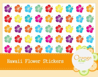 Hawaii Flower Stickers - Hawaiian Stickers - Planner Stickers