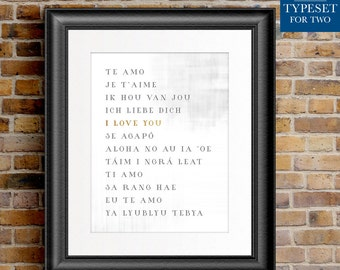I love you - Different Languages - Gold Accent - Instant Download - Printable - Office Wall Decor