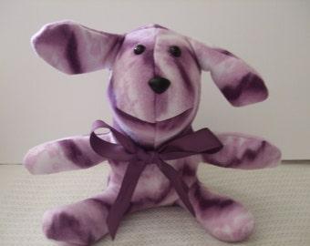 Plush Dog, Stuffed dog, plush stuffed dog, polar fleece dog,  Purple  and White Tie-Dyed Dog, Groovy Grapeliscious!,free shipping