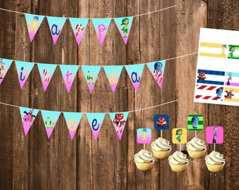 PDF Digital Files - Inside Out Birthday Party Banner, Labels, & Cupcake Toppers