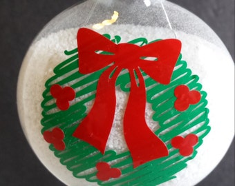 Glass Christmas Ornament with Scribble Wreath