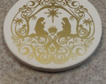 Bisque Ornament with Orante Gold Nativity Scene
