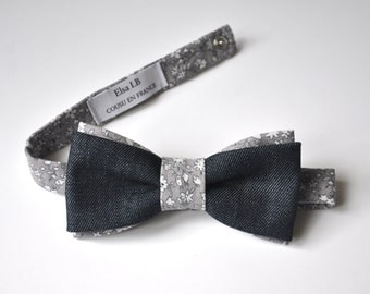 Bow tie man, adjustable, knotted printed cotton LIBERTY & Jeans
