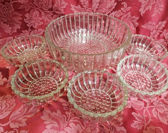 Vintage glass Berry Salad Bowls