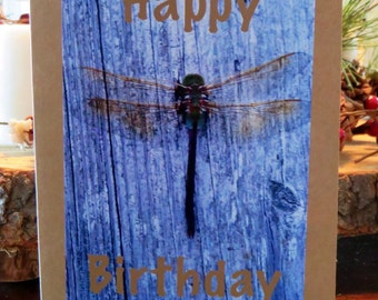 Dragonfly.    Photo Happy Birthday Card.   Blank Inside.