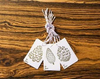 Pine Cones - Letterpress Holiday Gift Tags