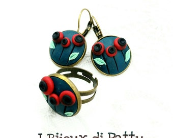 Parure orecchini e anello con papaveri