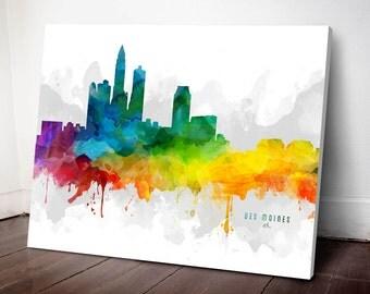 Des Moines Skyline Canvas, Des Moines Print, Des Moines Art, Des Moines Gift Idea, Des Moines Cityscape, MMR-USIADM05C