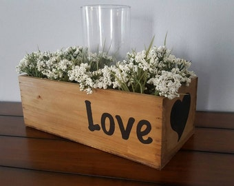 Wedding Centerpiece / Flower Box / Personalized Wooden Box