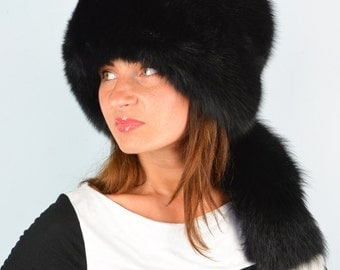 Premium Quality 100% Real Black Fox Fur Winter Women's Hat With Removable Tail