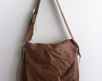 Handmade crossbody bag for woman, handbag from real leather, vintage, brown color, size: medium