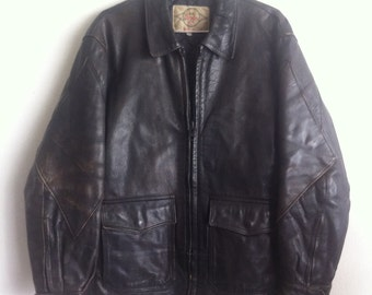 Motorcycle Mid Length Vintage Black Genuine Leather Jacket Men's Size Large.