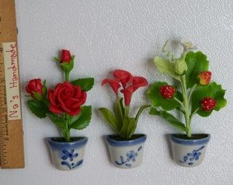 Red Flowers Set of 3 - Flower Refrigerator Magnet Handmade 100%