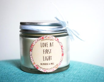 """Natural scented candle """"Love at first light"""" / Palmarosa & musk"""