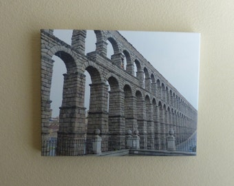 Roman aqueduct in Segovia, Spain...16x20 canvas