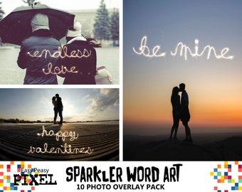 SPARKLERS WORDART, Sparklers Overlays, Photoshop Overlays, Photoshop Overlay, Cursive Alphabet, Phrases, Love, Valentines, Valentines Day
