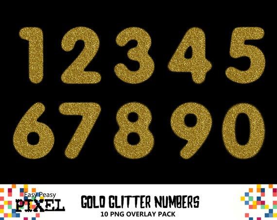 GOLD GLITTER NUMBERS Numbers Overlays Photoshop Overlays