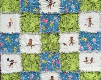 Sock Monkey Baby Raggy Quilt