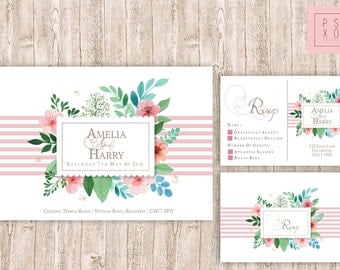 Cute Floral Vintage Pink And White Theme | Wedding Invite Kit | RSVP Card | Wedding Invite | Wedding Invitation | Shabby Chic