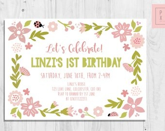 Cute Pastel Floral | 1st Birthday Invite | Custom Invite | Baby Girl | Birthday Party Invitation | Glitter And Pink