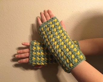 Green and Yellow Fingerless Gloves (Large)