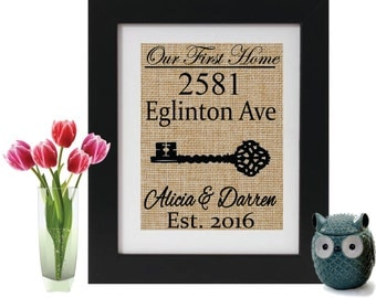 Our First Home Personalized Burlap Address Sign with Name Address and Est Date - Custom housewarming gift - Our First Home Sign Personalized