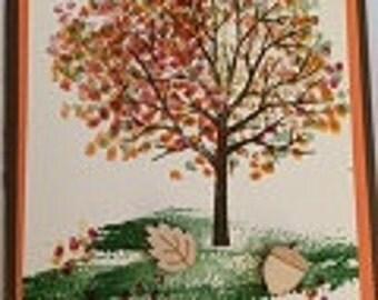 Acorn Leaf Embellished Card