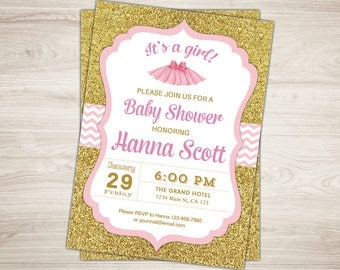 tutu baby shower invitation ballerina baby shower invitation pink tutu cute invitation gold