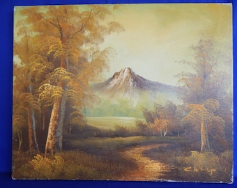 Old vintage Oil painting landscape mountains trees lake forest signed snow