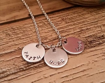 Faith, Hope, and Love Hand Stamped Necklace