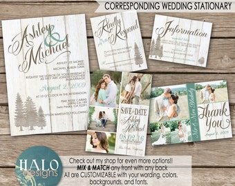 Rustic Mountain Wedding Invitaiton, Save The Date, Invitation Kit, Thank You Card, Printable, Postcard