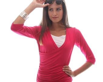 Wrap Shirt for Nursing | Fuschia Breastfeeding Shirt | 3/4 Sleeve Nursing Top | Breastfeeding Shirt | Baby Shower Gift | Gift Under 30
