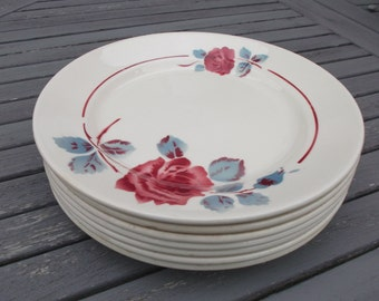 7 plates flat Badonviller, Fenal, model Monique - antique french flat