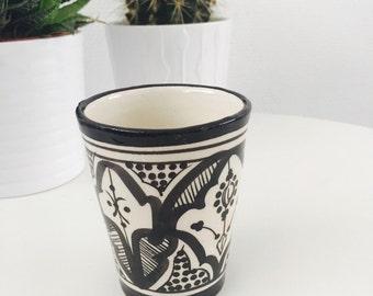 Moroccan ceramic cup, black and white