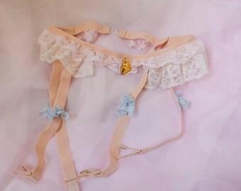Pastel suspender belt