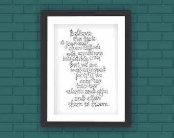 Wall Art Hand Written Quote Believe Poster Art Download Almost Free