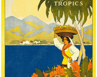 Vintage Jamaica Gem of the Tropics Poster Print