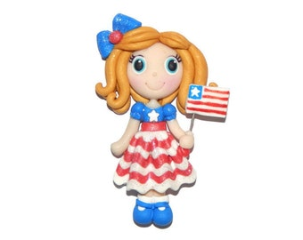 4th of July Holiday Patriotic Girl New Handmade Polymer Clay Pendant/Magnet/Bead/Figure - Pin - Ornament