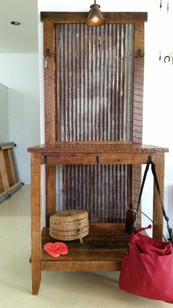 Rustic Wooden Foyer Bench : Primitive rustic barn wood entry table hall tree vanity