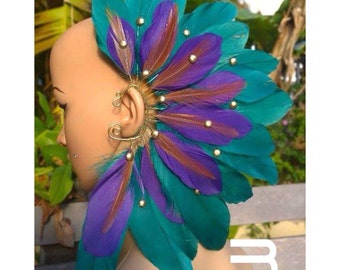 Custom Feather Ear Wraps - Pick your style and request your colors KS0011