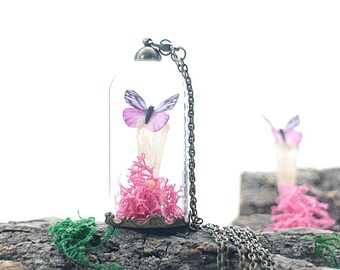 Hot Pink Butterfly Druzy Champagne Crystal Terrarium Necklace,with Shocking Pink Moss Miniature Fairy Garden Glass Bottle Pendant Jewelry