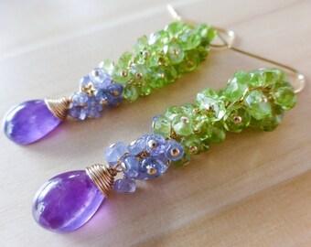 Amethyst Peridot Cluster Earrings, Purple Green Earrings, Tanzanite Earrings, Peridot Earring Wire Wrapped Gemstone Earrings Dangle Earrings